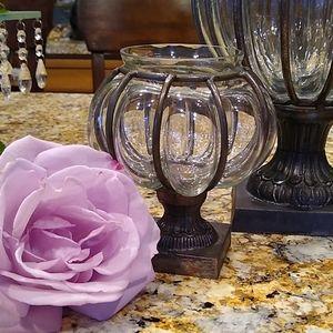🥰💕 hand blown glass votive in cast iron